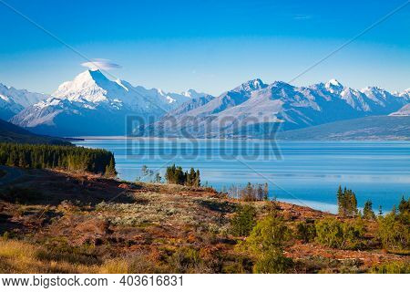 Aoraki Mount Cook And Lake Tekapo. Famous Places On The South Island Of New Zealand
