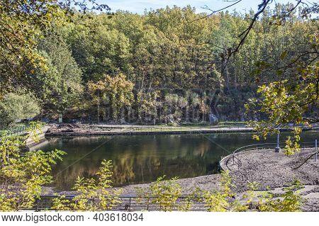 El Lago Natural Pool In Autumn. Jaraiz De La Vera, Extremadura, Caceres, Spain
