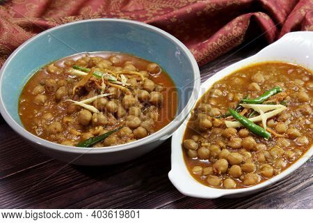 Top Down View Of A Bowl Of Spicy And Tangy Amritsari Chole