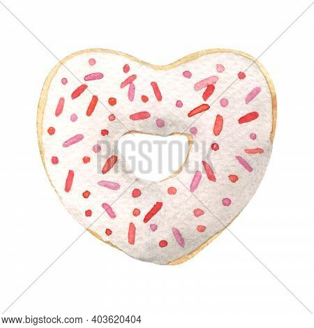 Heart Shaped Donut With White Glaze. Hand-drawn Watercolor Illustration Isolated On White
