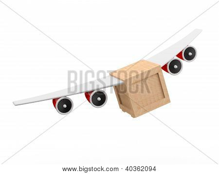 Delivery Concept. 3D Box With Plane Wings