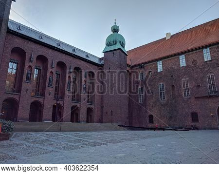 Stockholm, Sweden - April 19 2019: The View Of City Hall Or Stadshuset Inner Yard On April 19 2019 I