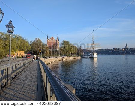 Sweden, Stockholm - April 26 2019: The View Of Af Chapman And Admiralty House On The Western Shore O