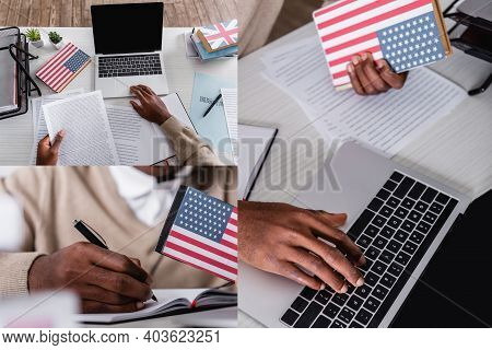 Collage Of African American Interpreter Working With Documents, Digital Translator, Laptop And Dicti
