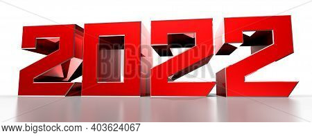 3d Illustration 2022 Red Isolated On A White Background With Clipping Path.