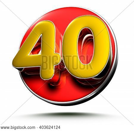 3d Illustration Gold Number 40 Isolated On A White Background With Clipping Path.