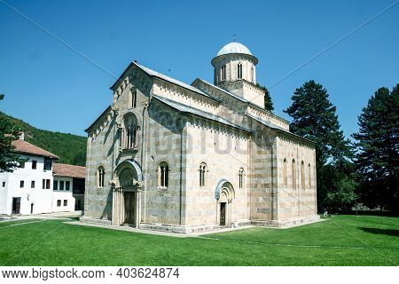 Main Church And Chapel Of The Manastir Visoki Decani Monastery In Decan, Kosovo. It Is One Of The Ma