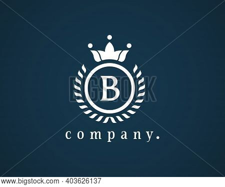 Letter B Elegant Monogram Design For A Luxury Company. Beautiful Royal Logotype. Weaving Circle Vint