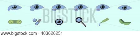 Set Of Optometry Cartoon Icon Design Template With Various Models. Modern Vector Illustration Isolat