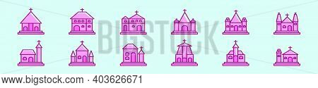 Set Of Abbey And Church Cartoon Icon Design Template With Various Models. Modern Vector Illustration
