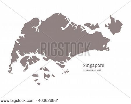 Silhouette Of Singapore Country Map And National Flag. Highly Detailed Gray Map Of Singapore, Southe