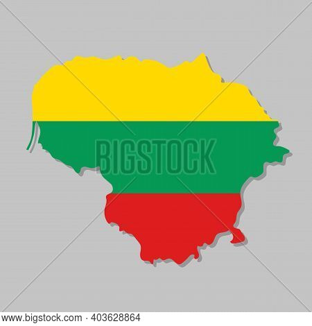 Lithuanian Flag On The Map. High Detailed Lithuania Map With Flag Inside. European Country Borders V