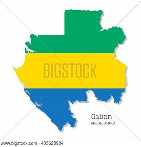 Map Of Gabon With National Flag. Highly Detailed Map Of Middle Africa Country With Territory Borders