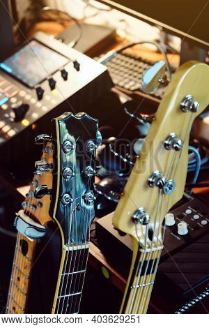 Close Up Instruments Music Background Concept,guitar And Studio Equipment