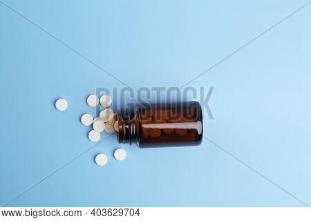 Various Medicine.white Round Drug And Pill Bottle