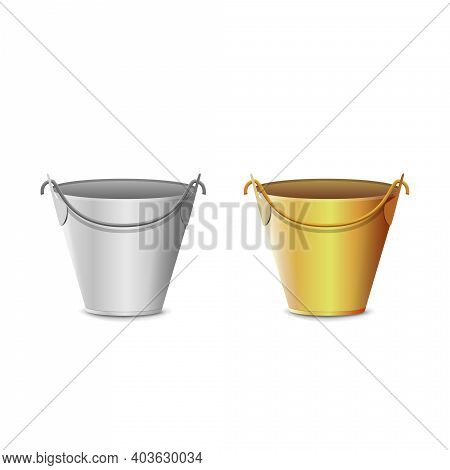 Silver And Gold Realistic 3d Buckets Isolated On White Background