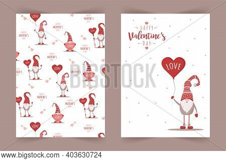 Retro Valentines Cards With Gnomes. Scandinavian Cute Elves In Red Hat With Air Balloon. Vector Illu