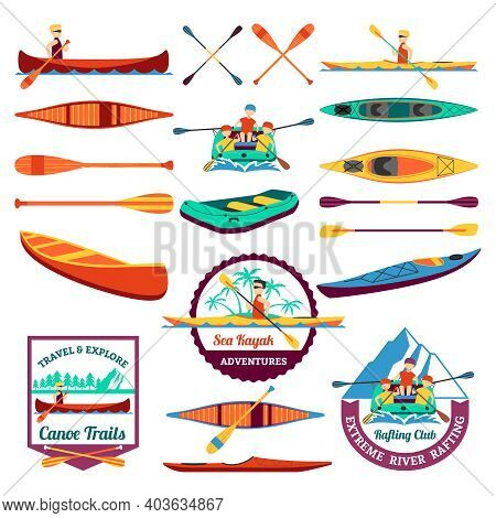 Canoe Trails And Rafting Club Emblem With Kayaking Equipment Elements Flat Icons Composition Abstrac