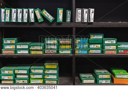 Placerville, Usa - November 25, 2020: Half Empty Shelves Of Reloading Die Boxes At A Gun Shop, Ammun