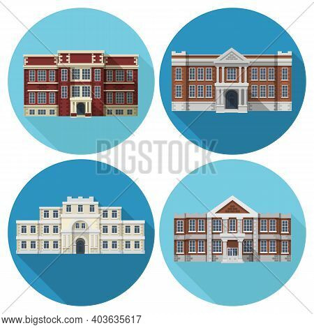 High And Primary School Building Flat Icons Set Isolated Vector Illustration