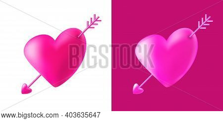 Cupid Heart With Cupid Arrow Set. Symbol Of Love. Valentines Day Card. Wedding Invitation Card. 3d H
