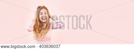 Pretty Young Woman Amazed By Sale News. Happy Female Person Outdoors. Summer Cute Portrait. Lady Blo