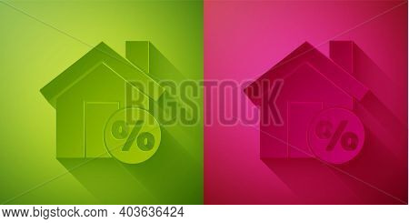 Paper Cut House With Percant Discount Tag Icon Isolated On Green And Pink Background. House Percenta