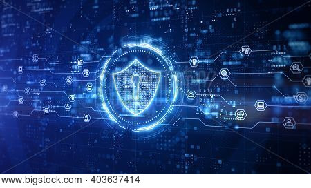 Shield Icon Of Cyber Security Digital Data, Technology Global Network Digital Data Protection, Futur