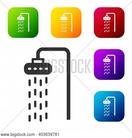 Black Shower Head With Water Drops Flowing Icon Isolated On White Background. Set Icons In Color Squ