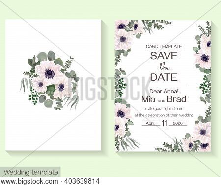 Vector Floral Template For Wedding Invitation. White Anemones, Eucalyptus, Berries, Green Plants And