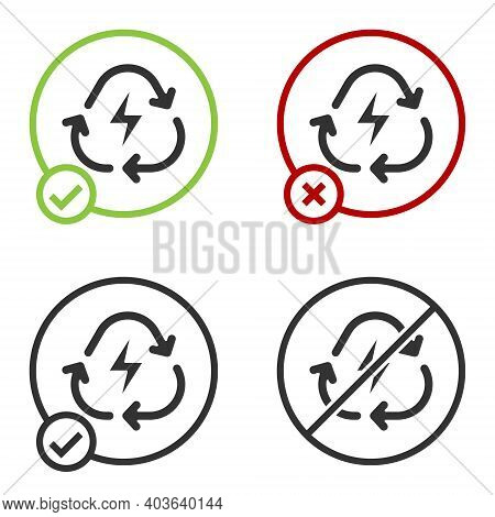 Black Battery With Recycle Symbol Line Icon Isolated On White Background. Battery With Recycling Sym