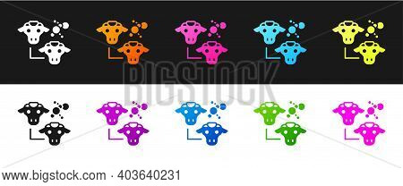 Set Cloning Icon Isolated On Black And White Background. Genetic Engineering Concept. Vector