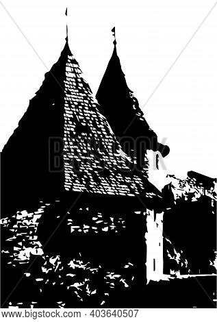 Silhouette Of An Ancient Bastion. Vector Illustration For Design