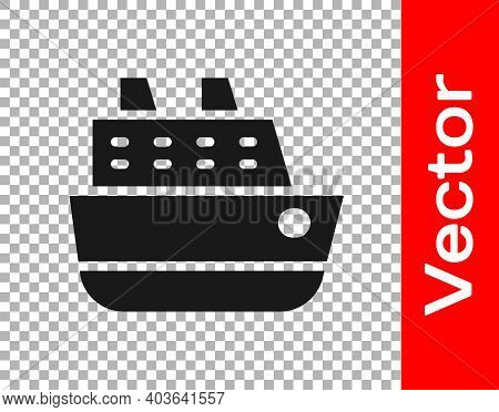 Black Cruise Ship Icon Isolated On Transparent Background. Travel Tourism Nautical Transport. Voyage