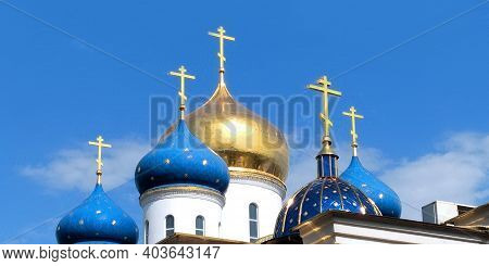 Odessa, Ukraine - June 25, 2019: These Are The Domes Of The Churches Of The Orthodox Assumption Patr