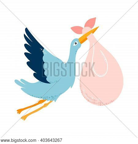 Baby Card. The Stork Is Carrying A Child. Vector Illustration On White Isolated Background