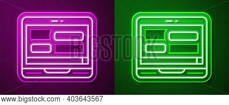 Glowing Neon Line New Chat Messages Notification On Laptop Icon Isolated On Purple And Green Backgro