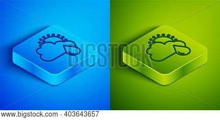 Isometric Line Cloud With Rain And Sun Icon Isolated On Blue And Green Background. Rain Cloud Precip