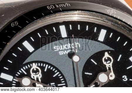 Pruszcz Gdanski, Poland - January 13, 2021: Detail With Sign Swatch Swiss On Swatch Irony Swiss Made