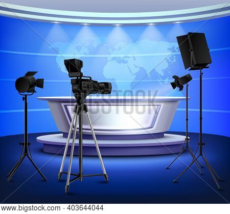 Realistic Blue News Studio Interior With Table On Pedestal World Map On Wall Floodlight Camera Vecto
