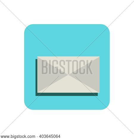 Icon Of Unread Message On Blue Square On White Background Flat Vector Illustration