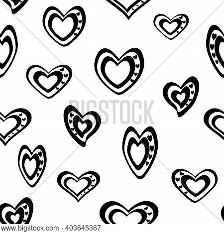 Seamless Vector Pattern. Stylized Black And White Hearts On A Transparent Background.