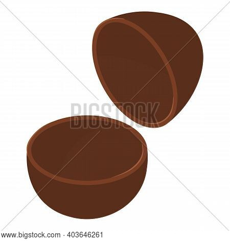 Chocolate Eggshell Icon. Isometric Of Chocolate Eggshell Vector Icon For Web Design Isolated On Whit