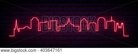 Red Neon Skyline Of Columbia. Bright Columbia City Long Banner. Vector Illustration.