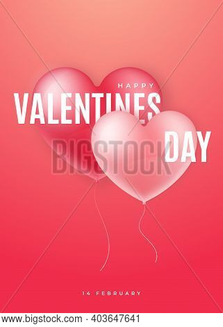Happy Valentine's Day Banner. Decorative 3d Realistic Balloon Hearts. Valentines Template For Poster