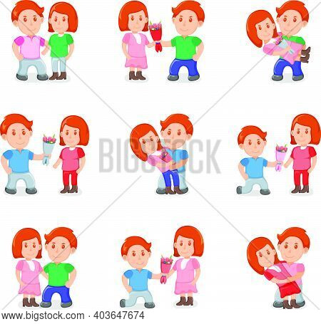 Set Lovely Female And Male Cute Couple, People Together Standing Hugs, Man Give Bouquet Flower Carto