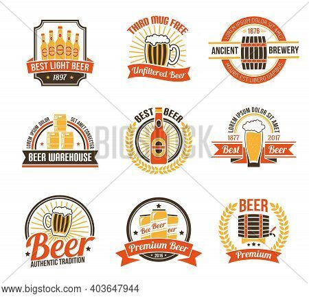 Brewery Logo Set. Brewery Labels Set.  Brewery Emblems Set. Brewery Vector Illustration. Brewery Fla