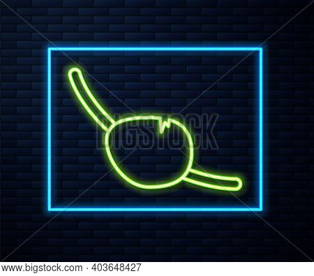 Glowing Neon Line Pirate Eye Patch Icon Isolated On Brick Wall Background. Pirate Accessory. Vector
