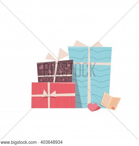Colorful Gift Boxes Wrapped Presents Valentines Day Celebration Concept Greeting Card Banner Invitat