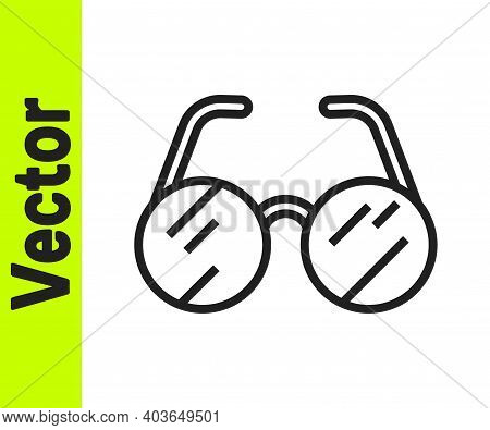 Black Line Eyeglasses Icon Isolated On White Background. Vector